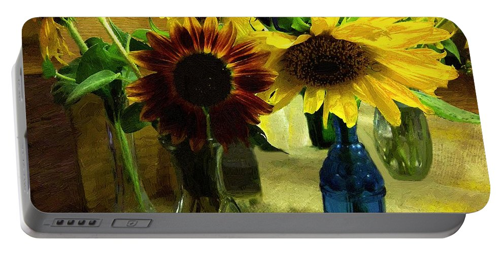 Still Life Portable Battery Charger featuring the painting Bottled Sunshine by RC DeWinter