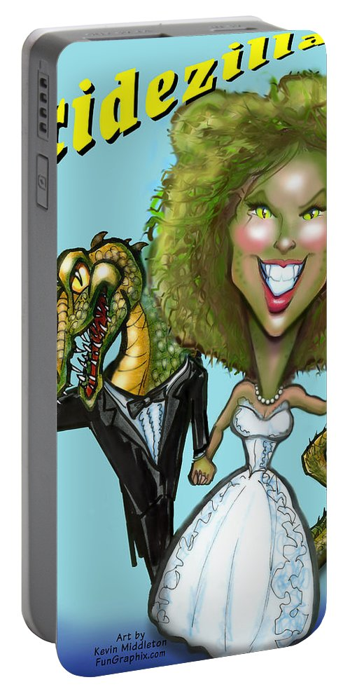 Bridezilla Portable Battery Charger featuring the greeting card Bridezilla by Kevin Middleton