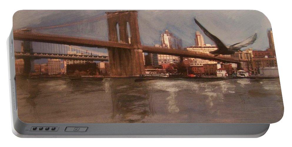 Brooklyn Bridge Portable Battery Charger featuring the painting Brooklyn Bridge by Anita Burgermeister