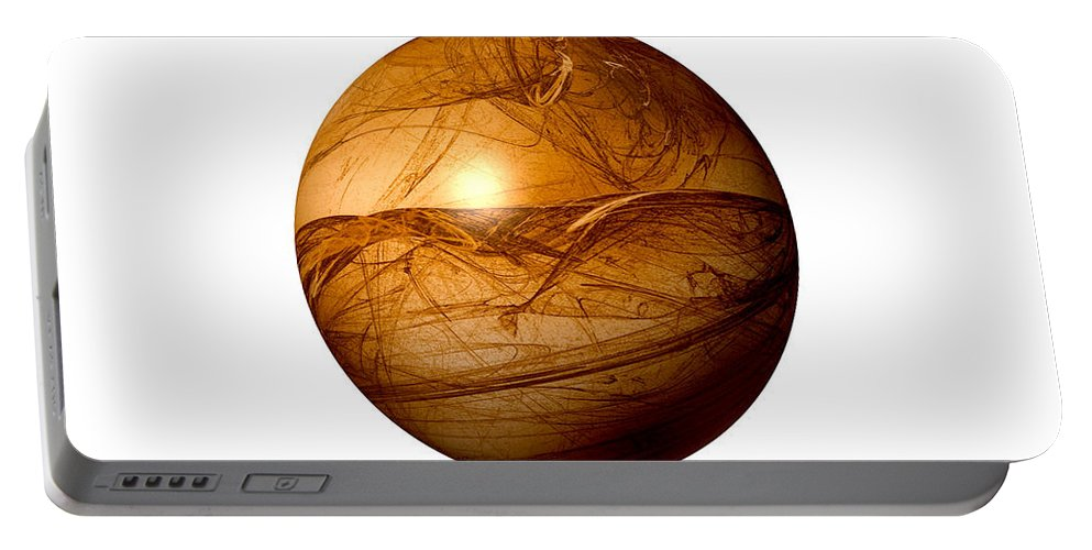Background Portable Battery Charger featuring the digital art Brown Abstract Globe by Henrik Lehnerer