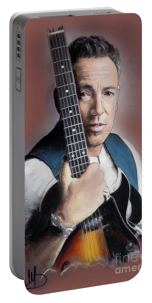 Bruce Springsteen Portable Battery Charger featuring the painting Bruce Springsteen by Melanie D