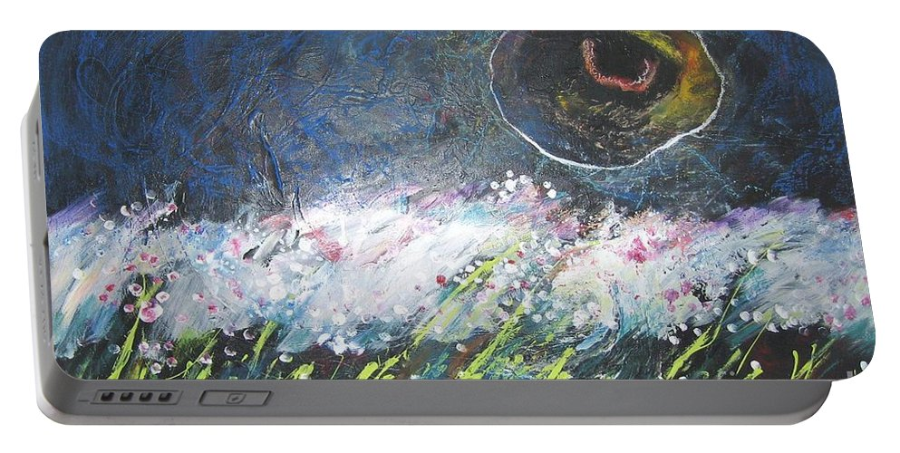 Aabstract Paintings Portable Battery Charger featuring the painting Buckwheat Field by Seon-Jeong Kim
