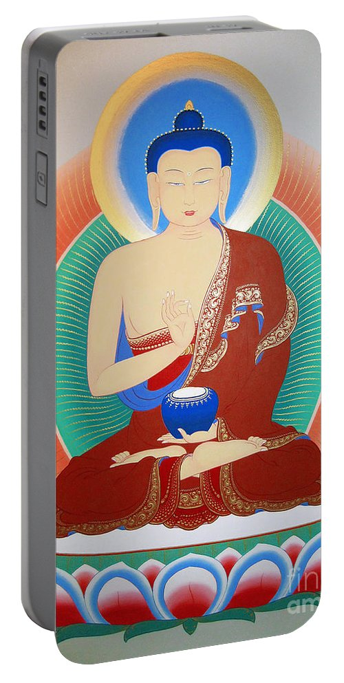 Thangka Portable Battery Charger featuring the painting Buddha Kashyapa by Sergey Noskov