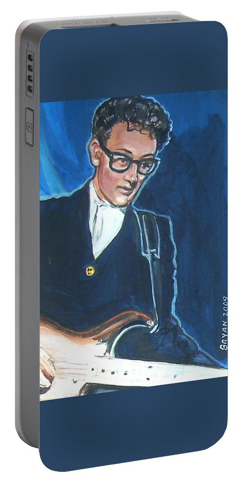 Buddy Holly Portable Battery Charger featuring the painting Buddy Holly by Bryan Bustard