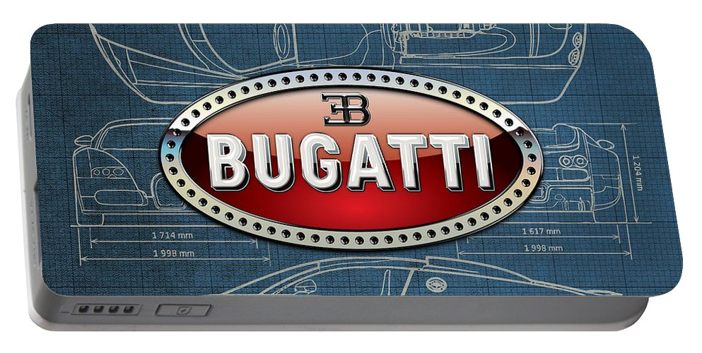 �wheels Of Fortune� By Serge Averbukh Portable Battery Charger featuring the photograph Bugatti 3 D Badge over Bugatti Veyron Grand Sport Blueprint by Serge Averbukh