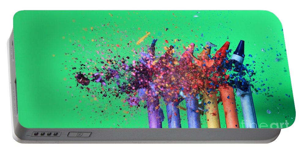 Science Portable Battery Charger featuring the photograph Bullet Hitting Crayons by Ted Kinsman