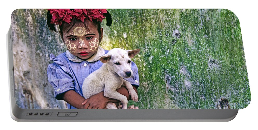 Myanmar Portable Battery Charger featuring the photograph Burmese Girl With Puppy by Michele Burgess