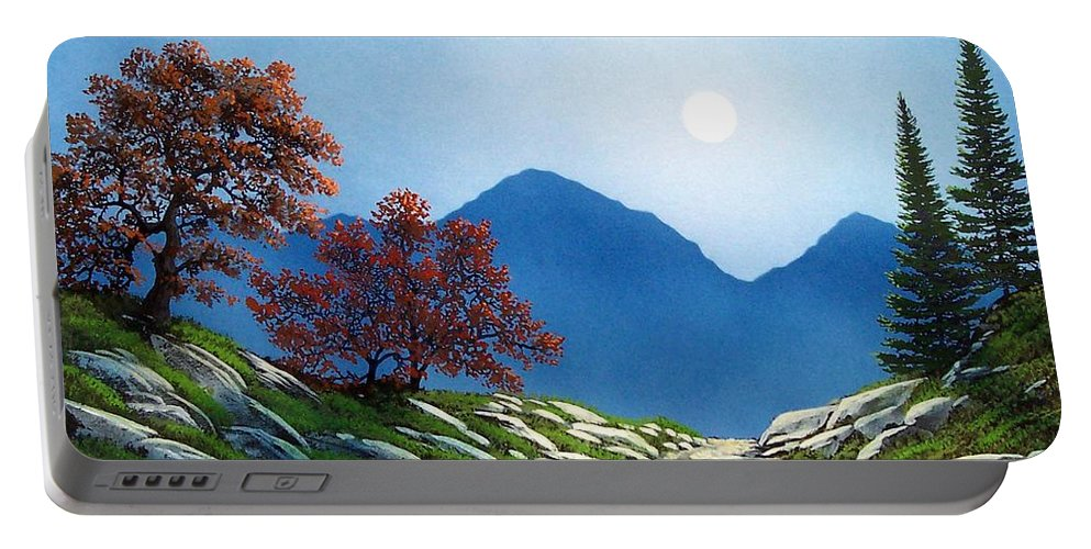 Landscape Portable Battery Charger featuring the painting By The Light Of The Moon by Frank Wilson