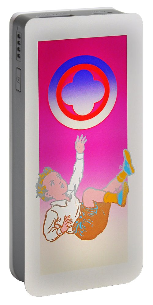 Boy Falling Portable Battery Charger featuring the mixed media By The Time I Got To Woodstock by Charles Stuart