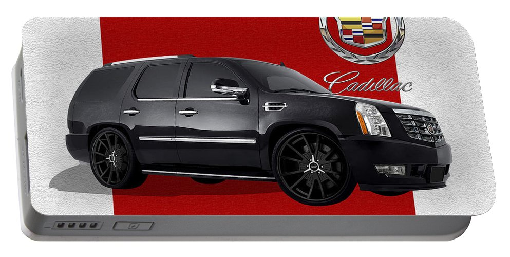 �cadillac� By Serge Averbukh Portable Battery Charger featuring the photograph Cadillac Escalade with 3 D Badge by Serge Averbukh