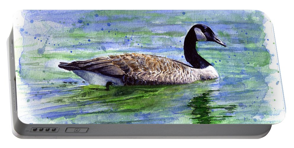 Bird Portable Battery Charger featuring the painting Canada Goose by John D Benson