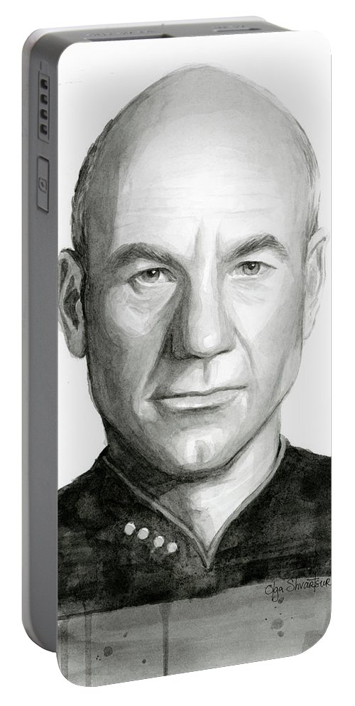 Captain Picard Portable Battery Charger featuring the painting Captain Picard by Olga Shvartsur