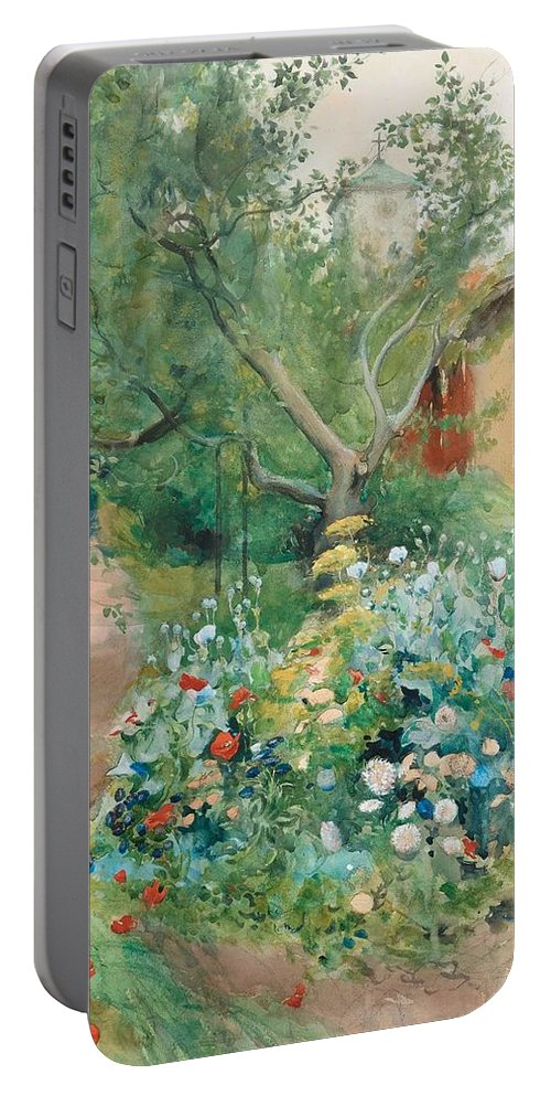 Nature Portable Battery Charger featuring the painting Carl Larsson, Garden Scene From Marstrand On The West Coast Of Sweden. by Carl Larsson