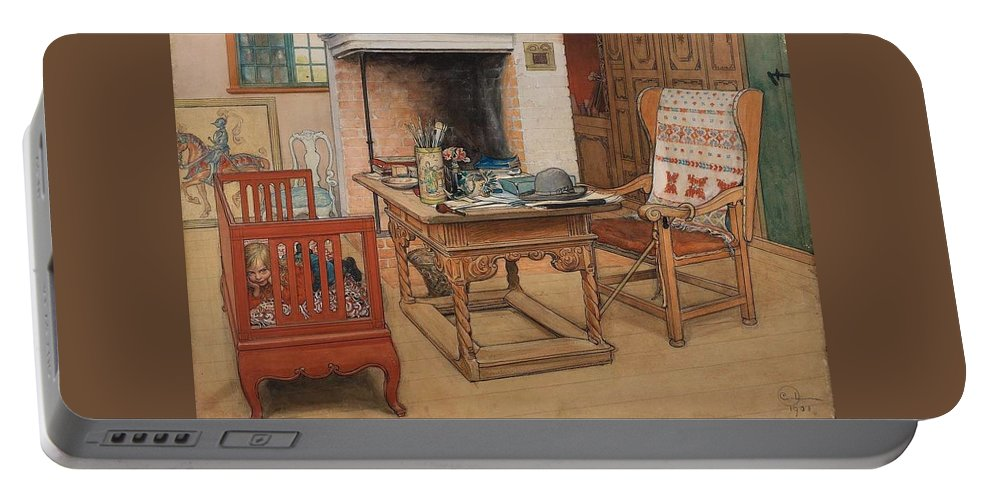 Art Portable Battery Charger featuring the painting Carl Larsson - Peek-a-boo 1901 by Carl Larsson