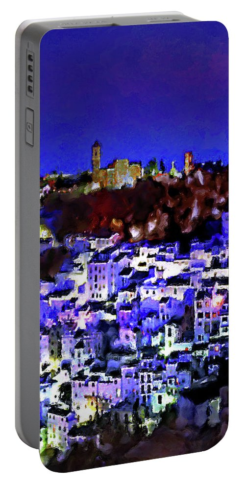 Casares Portable Battery Charger featuring the mixed media Casares By Night by Chris North