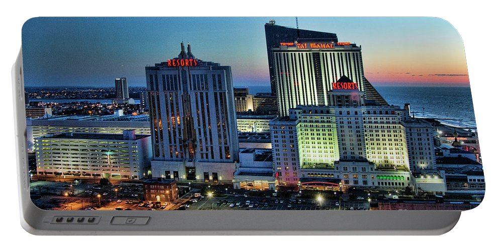 Architecture Portable Battery Charger featuring the photograph Casinos Atlantic City by Chuck Kuhn