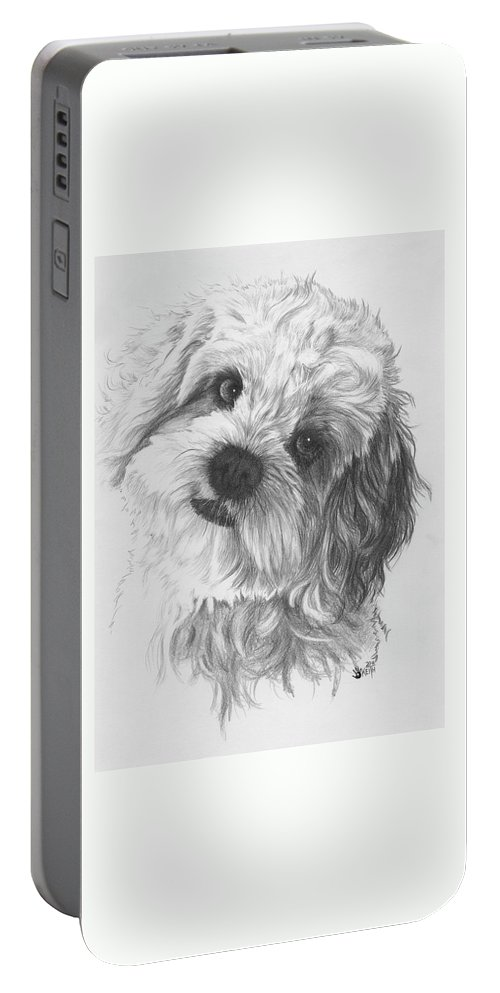Designer Dog Portable Battery Charger featuring the drawing Cava-chon by Barbara Keith