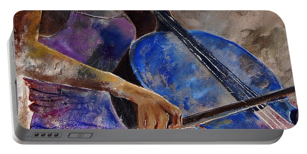 Music Portable Battery Charger featuring the painting Cello Player by Pol Ledent