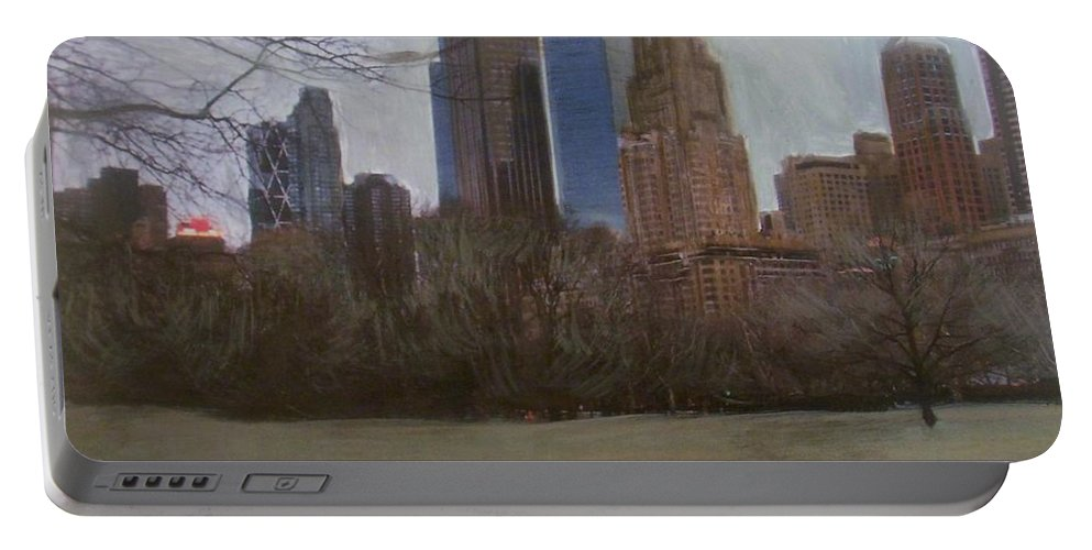 Central Park Portable Battery Charger featuring the painting Central Park by Anita Burgermeister