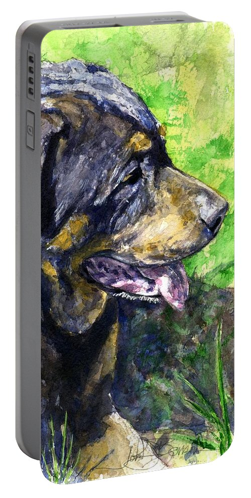 Rottweiler Portable Battery Charger featuring the painting Chaos by John D Benson