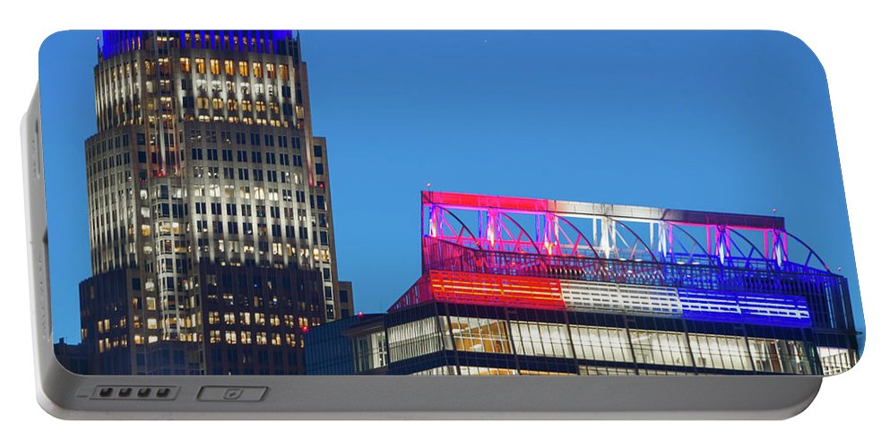 Urban Portable Battery Charger featuring the photograph Charlotte North Carolina Skyline City View by Alex Grichenko