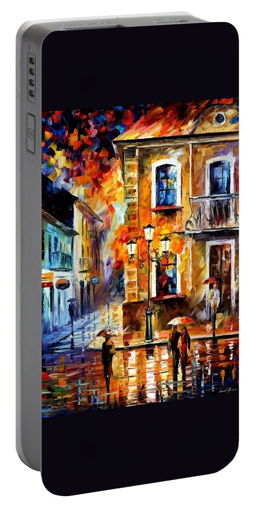 Afremov Portable Battery Charger featuring the painting Charming Night by Leonid Afremov