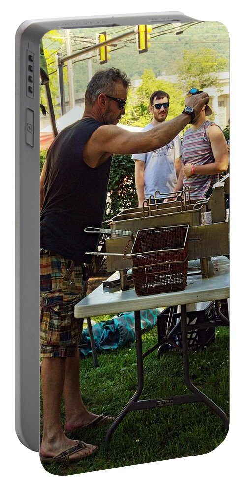 People Portable Battery Charger featuring the photograph Chef Cooking by Karl Rose