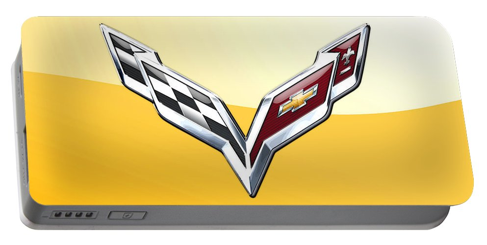 �wheels Of Fortune� Collection By Serge Averbukh Portable Battery Charger featuring the photograph Chevrolet Corvette 3D Badge on Yellow by Serge Averbukh