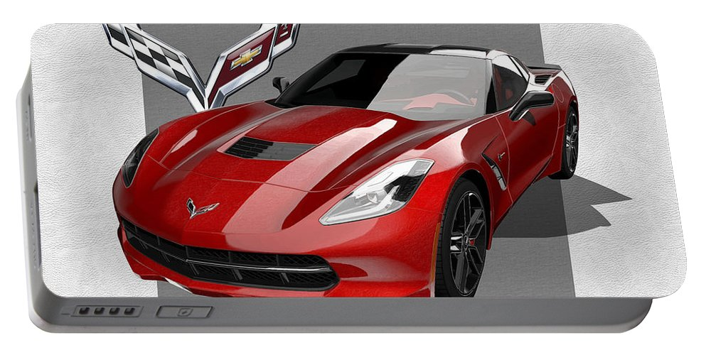 �chevrolet Corvette� By Serge Averbukh Portable Battery Charger featuring the photograph Chevrolet Corvette C 7 Stingray With 3 D Badge by Serge Averbukh