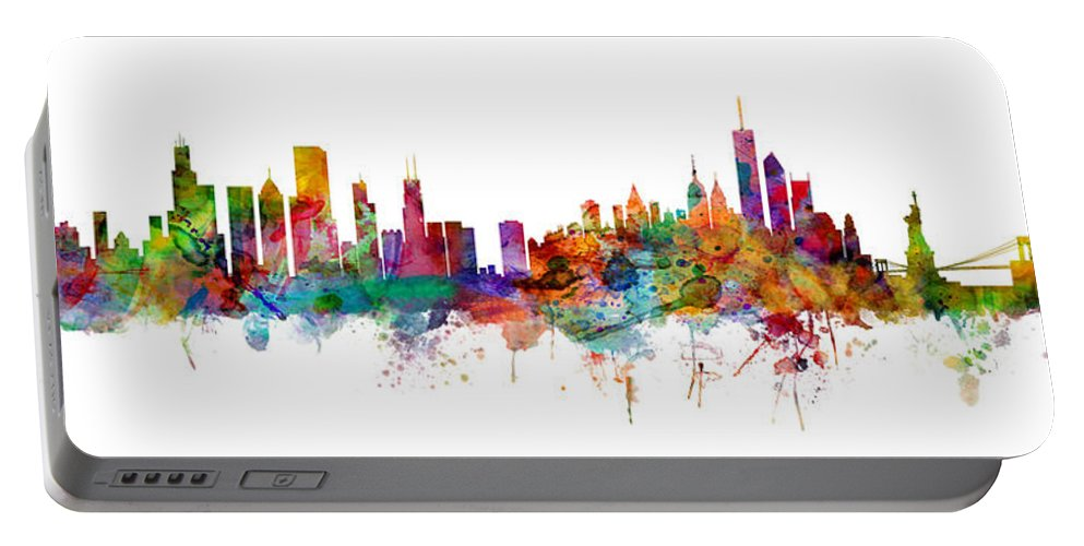 Chicago Portable Battery Charger featuring the digital art Chicago And New York City Skylines Mashup by Michael Tompsett