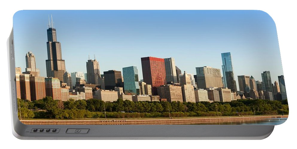 Architecture Portable Battery Charger featuring the photograph Chicago Downtown At Sunrise by Semmick Photo