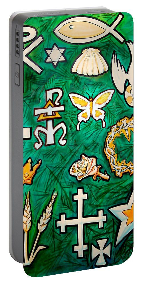 Chrismons Portable Battery Charger featuring the painting Chrismons by Kevin Middleton