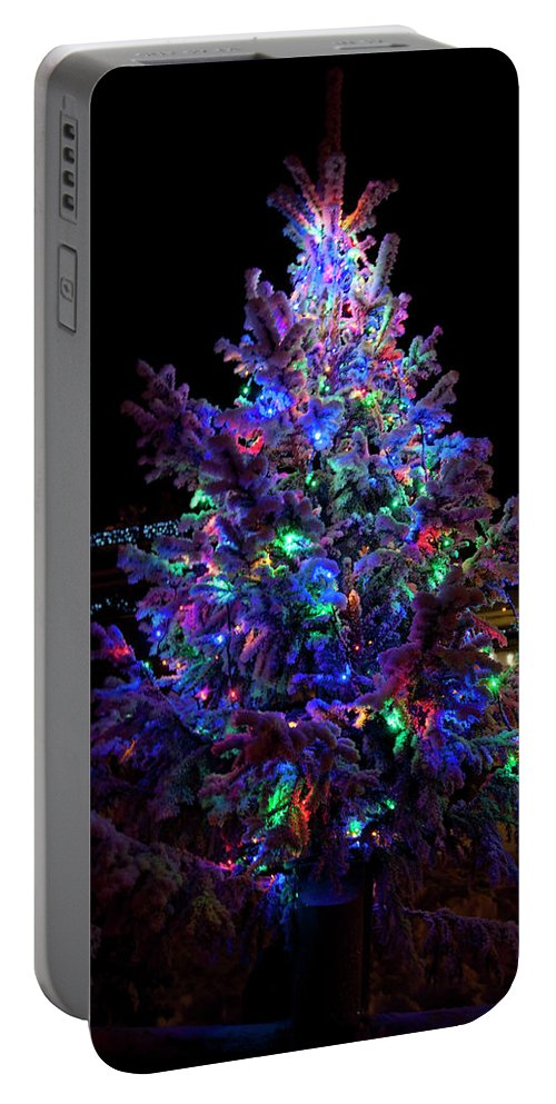Christmas Tree On Dark Background By Tamara Sushko Portable Battery Charger featuring the photograph Christmas Tree by Tamara Sushko