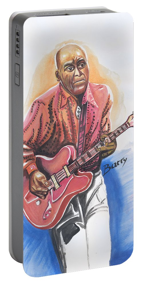 Music Portable Battery Charger featuring the painting Chuck Berry by Emmanuel Baliyanga