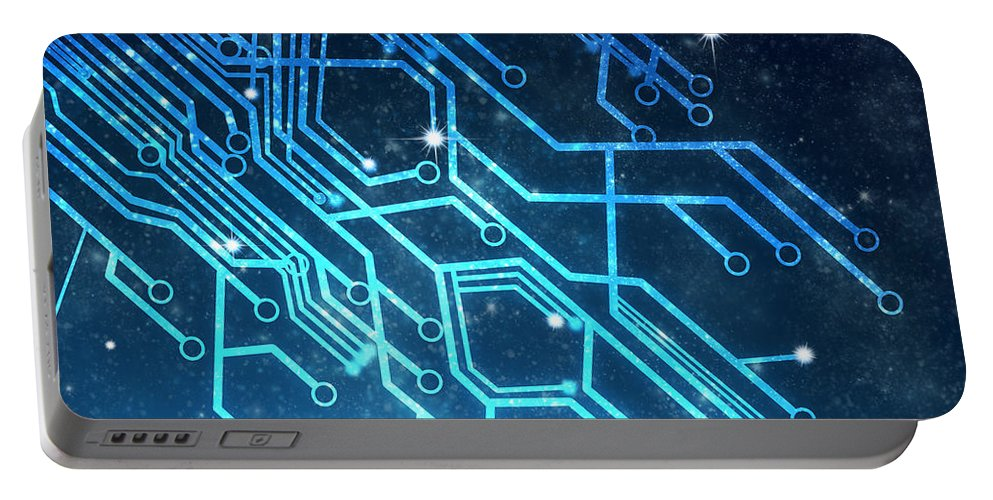 Abstract Portable Battery Charger featuring the photograph Circuit Board Technology by Setsiri Silapasuwanchai