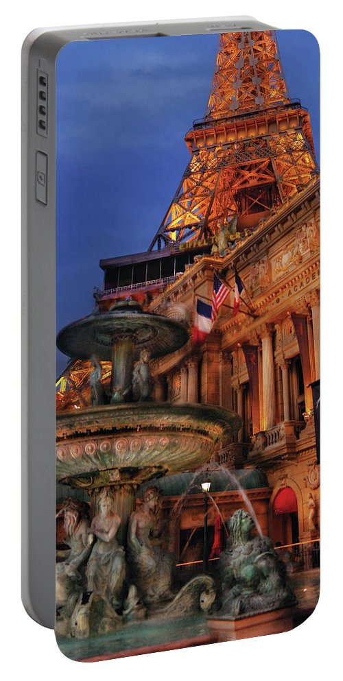 Savad Portable Battery Charger featuring the photograph City - Vegas - Paris - Academie Nationale - Panorama by Mike Savad