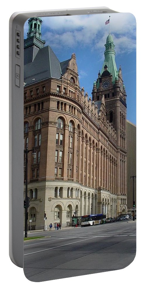 Milwaukee Portable Battery Charger featuring the photograph City Hall And Lamp Post by Anita Burgermeister