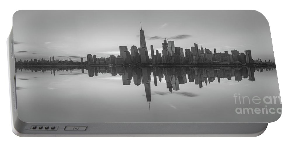 Lower Manhattan Portable Battery Charger featuring the photograph City Skyline Reflections Panorama by Michael Ver Sprill