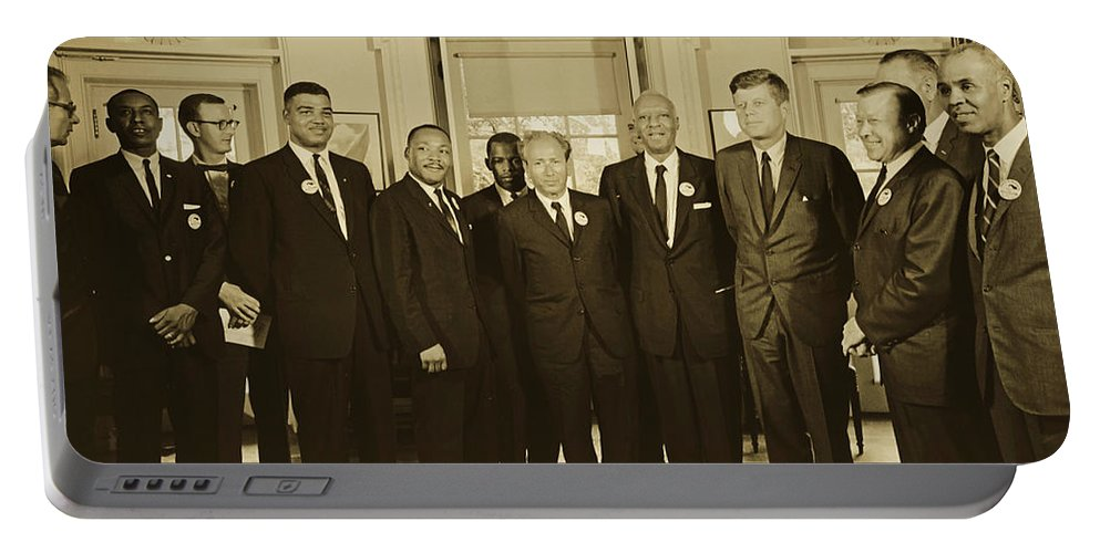 President John F. Kennedy Portable Battery Charger featuring the photograph Civil Rights Leaders And President Kennedy 1963 by Library Of Congress