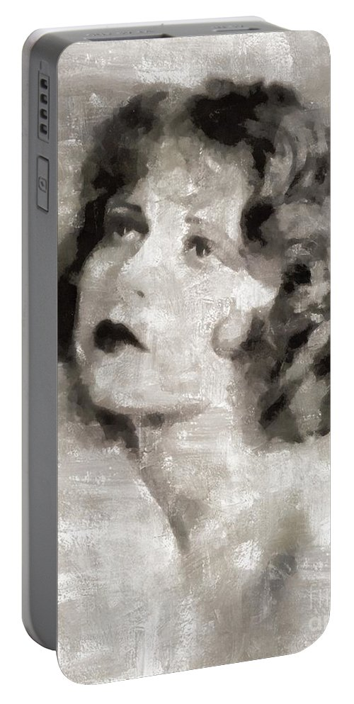 Portable Battery Charger featuring the painting Clara Bow Vintage Hollywood Actress by Mary Bassett