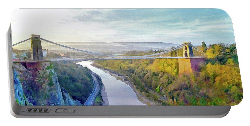 Clifton Suspension Bridge Portable Battery Charger featuring the digital art Clifton Suspension Bridge by Bishopston Fine Art