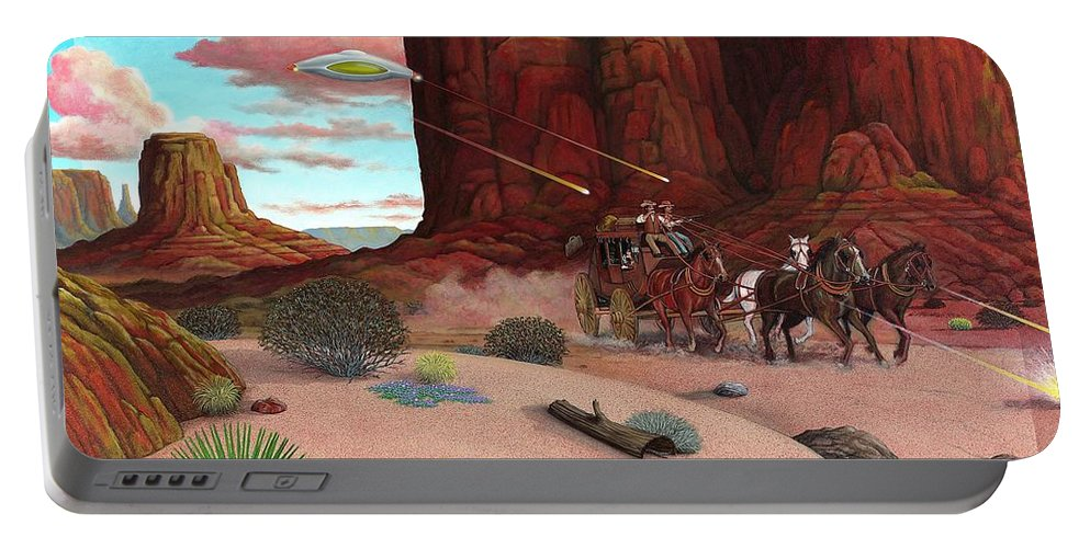 Cowboys Portable Battery Charger featuring the painting Close Encounter by Snake Jagger