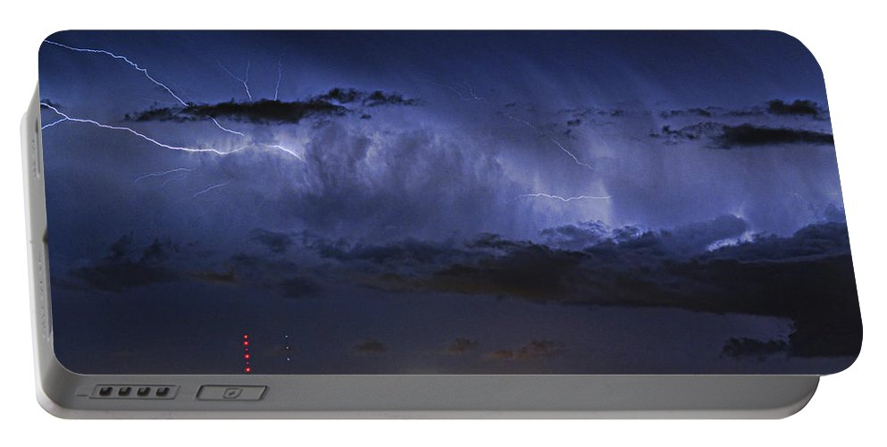 Bouldercounty Portable Battery Charger featuring the photograph Cloud To Cloud Lightning Boulder County Colorado by James BO Insogna