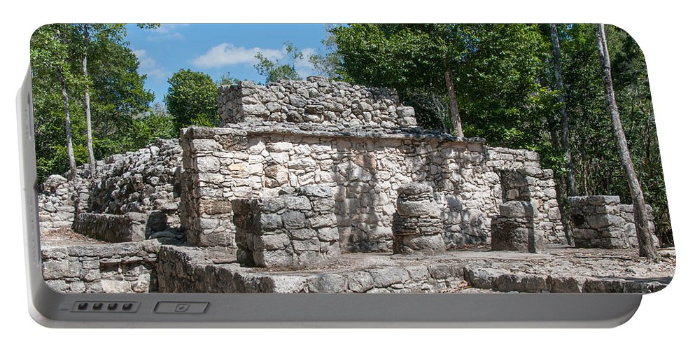 Mexico Quintana Roo Portable Battery Charger featuring the digital art Coba by Carol Ailles