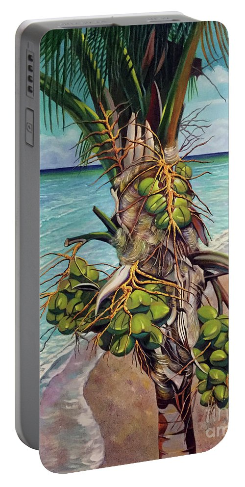 Coconuts Portable Battery Charger featuring the painting Coconuts on beach by Jose Manuel Abraham