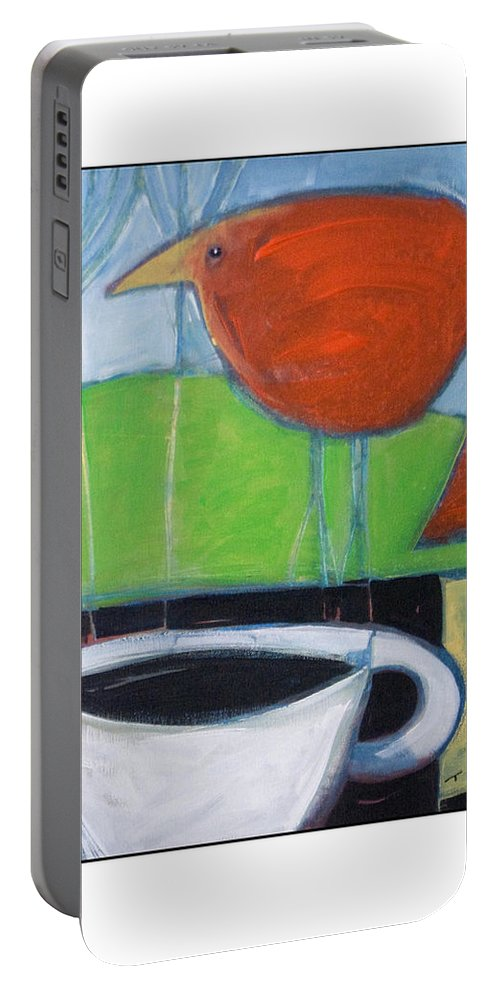 Bird Portable Battery Charger featuring the painting Coffee With Red Bird by Tim Nyberg