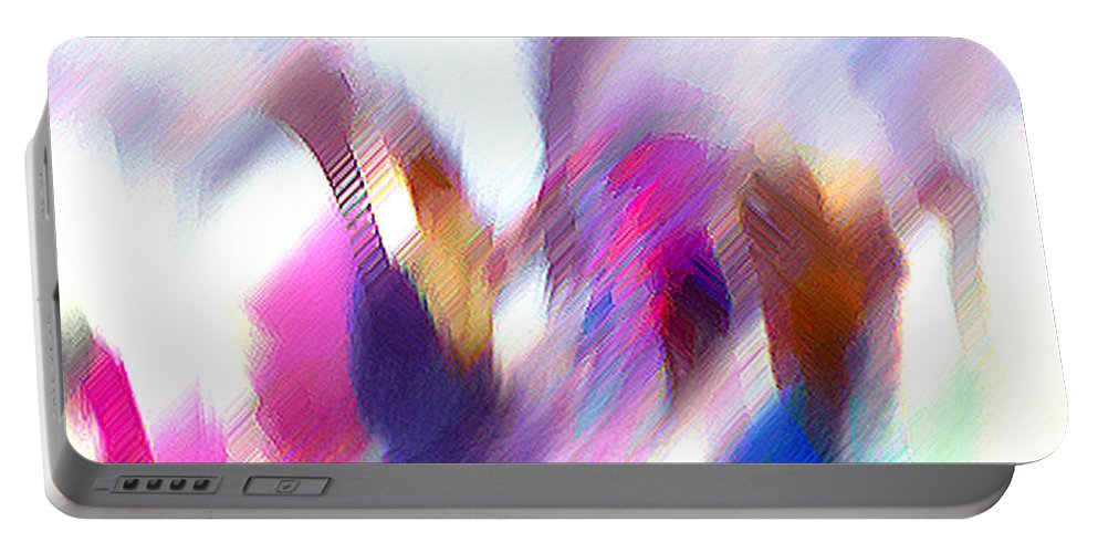 Digital Media Portable Battery Charger featuring the painting Color Dance by Anil Nene