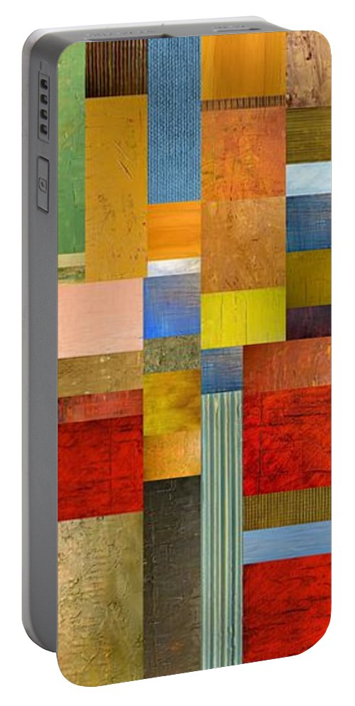 Skinny Portable Battery Charger featuring the painting Color Panels With Green Grass by Michelle Calkins
