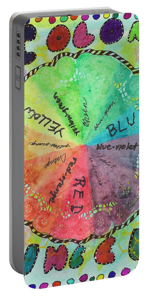 Color Portable Battery Charger featuring the mixed media Color Wheel by Dawn Boswell Burke
