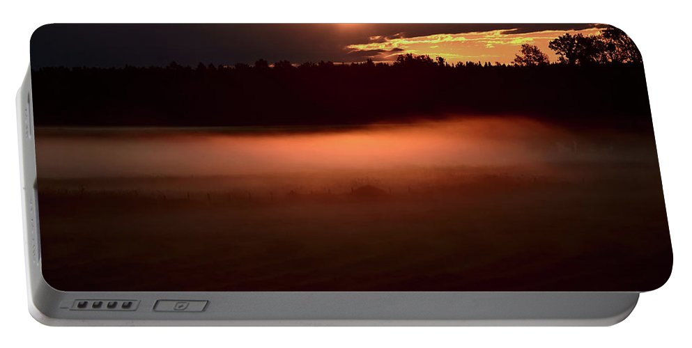 Sun Portable Battery Charger featuring the digital art Colorful Skies Nearing Sunset by Mark Duffy